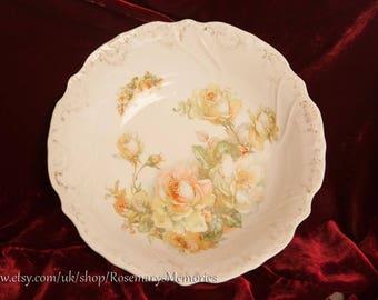 Vintage porcelain bowl, Rose pattern, patterned rim, transfer ware flower pattern, serving bowl, 10 inch, 25 cm, white dish,