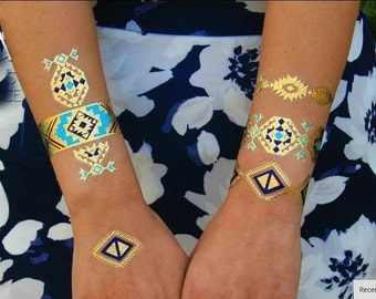 Aztec Pattern Metallic Tattoo Armbands, Turquoise Gold Blue, Arm Candy, Stacking Bracelets,  Jewelry Tattoo Bracelets