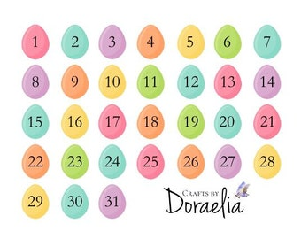 DIY Easter Egg Date stickers, Planner date stickers