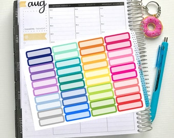 Rounded Quarter Box Stickers - Colourful Brights | Sheet of 40 | Erin Condren Vertical Hourly Life Planner Stickers