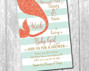 Mermaid Baby Shower Invitation with Coral Glitter (flat) Tail/DIGITAL FILE or printing/printable/wording and colors can be changed