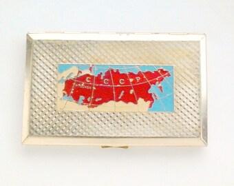 Vintage Soviet cigarette case / Holder from USSR - Map of the USSR / Made in USSR, 1960s