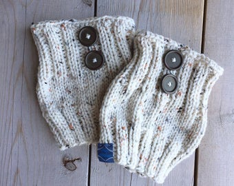 Ivory Button Boot Cuffs in Speckled Yarn