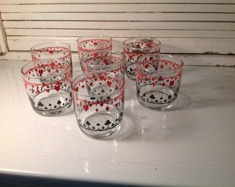 7 glasses of mustard patterned poker