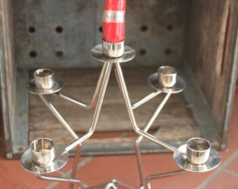 Silverplate & Stainless Star Candleabra Vintage 1980's 5 Candle Holder Multi Taper Home Table Decor - HD0235