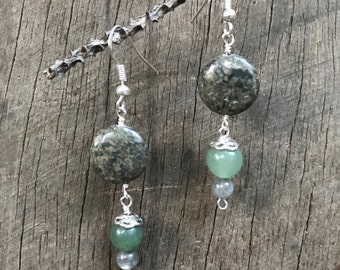 pyrite, chalcedony and labradorite  dangle earrings