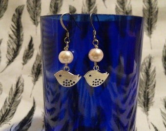 Silver bird with pink pearl earrings