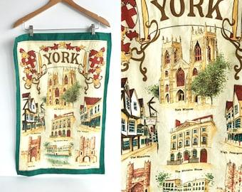 Vintage York Linen Tea Towel by Clive Mayor, Vintage York Britain Souvenir Tea Towel