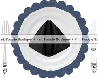 TEXTURED PAPER PLACEMATS (10 pc)  -- Navy Midnight Blue -- choose from: Bracket or Scalloped Square, Scalloped or Solid Circle [051]