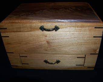 Maple/Walnut Crotch Jewelry Box With Drawer