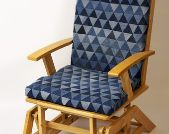 "Rocking Chair, Glider Chair, Relaxchair, Nursing Chair with Denim Patchwork ""Trigon"""