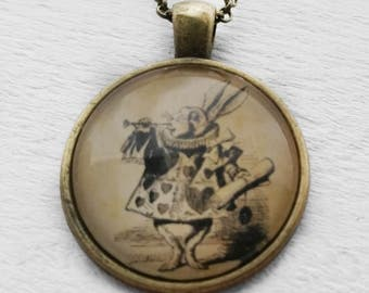 Alice in Wonderland White Rabbit Trumpet Pendant and Necklace