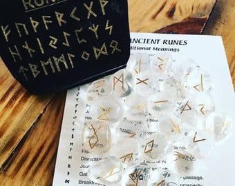 Rune Set. Divination. Clear Quartz Crystal