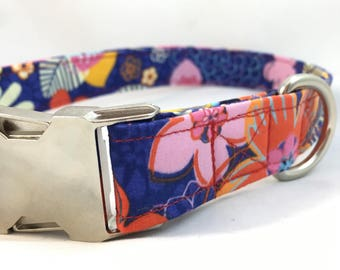 Purple Floral Dog Collar - Tropical Floral Dog Collar - Summer Floral dog collar - Girl dog collar - Dog Collar Floral - Modern Dog Collar