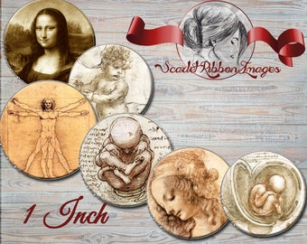 Leonardo da Vinci Bottle Cap 1 inch Images - Digital Collage Sheet- 15 images - BottleCap Images - digital circles for Pendants, Hair Bows