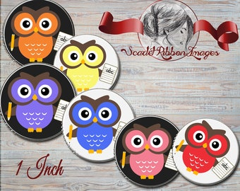 School, Teacher Owl Bottle Cap Images 1 in circles - digital collage sheet - bottle cap images, buttons, tags, scrapbooking, cupcake toppers