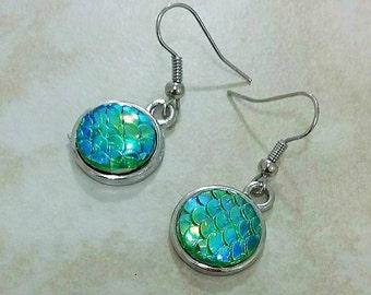 Mermaid Scales Green Shimmer Dangle Drop Earrings