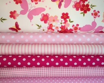 Pink Fat Quarter Fabric Bundle - 100% Cotton, Quilting Fabric