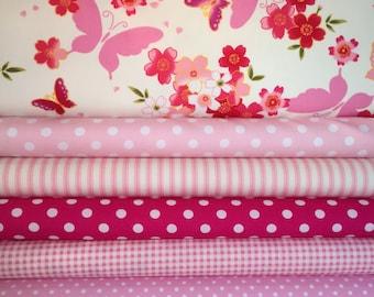 Pink Fat Quarter Fabric Bundle - 100% Cotton, Quilting Fabric