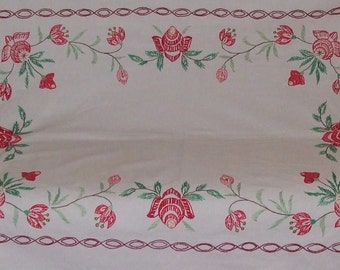 "on sale50%ОFF!Beautiful Vintage Hand-Embroidered Tablecloth-58.2""X52"""