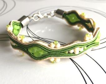 Green Bracelet, Soutache Bracelet, Everyday Bracelet, Friendship Bracelet, Soutache Jewelry, Woven Bracelet, Gift For Girlfriend