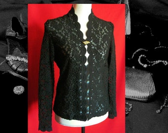 BLACK LACE TUNIC, crystals on lace tunic, long sleeve embossed lace vintage top, womens 1990s vintage lace tunic, ProperLadyVintagePro