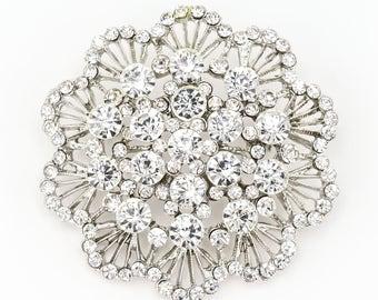 Round Crystal Brooch, Rhinestone Brooch, Wedding Cake Brooch, Bridal Bridesmaid Brooch, Vintage Wedding Brooch, Bouquet Supplies.