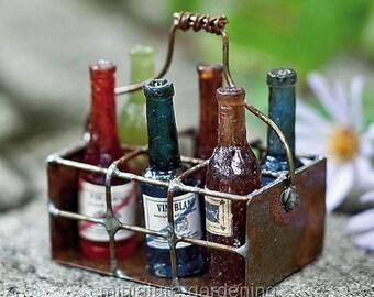 Wire Basket with Bottles for Miniature Garden, Fairy Garden