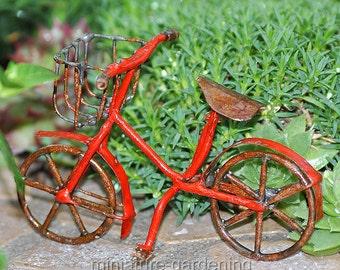 Mini Bicycle, Red for Miniature Garden, Fairy Garden