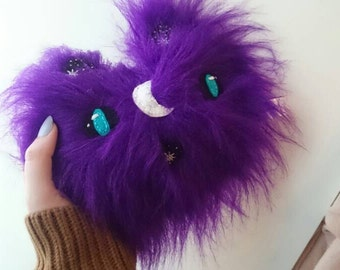 Purple fluffy cat plush with hand embroidered face, one of a kind, only one made. Sample sale