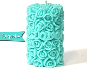 2 x Lotus Scented - Turquoise Rose Candles