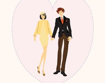 Custom Couple Portrait, Engagement Gift,  Wedding Portrait, Anniversary, Valentine's Present - Modern, Fashion Inspired Illustration Print