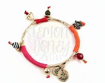 Nautical Bangle Bracelets, Bangle Bracelets, Seaside Bangles, Gold Bangle Bracelets