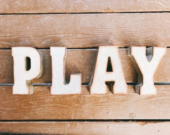 Play Letters, Play Signs, Kids Playroom,Metal Signs, Playroom Wall Decor, Kids Playroom Decor, Playroom, Classroom, Kids Room Wall Decor