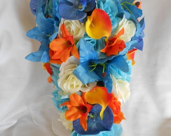 Bridal wedding cascade  bouquet Malibu turquoise  blue ivory  roses and tangerine orange Orchids  and calla lilies  2 pieces