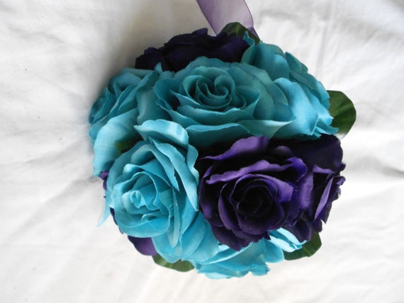 Bride maids bouquet set of 4 with 4 grooms boutonniers includes turquoise and royal purple