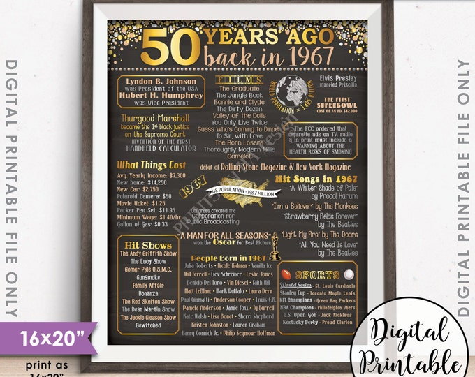 """1967 Poster, 50 Years Ago Flashback 1967 Instant Download 8x10/16x20"""", USA Back in 1967 Birthday 50th Anniversary Chalkboard Style Printable"""