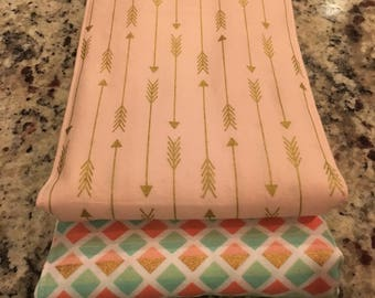 Pink and Gold Arrows-Burp Cloths