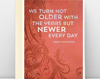 Birthday or Blank Famous Quote Greeting Card, Modern Nature Floral Design