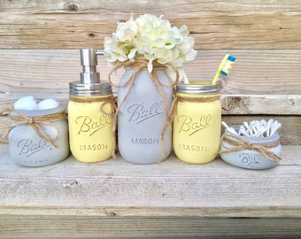 Yellow And Grey Bathroom Decor, Yellow And Gray Mason Jar Bath Set,Yellow  And