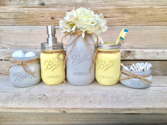 Yellow and grey bathroom decor yellow and gray mason jar bath for Yellow and grey bathroom sets