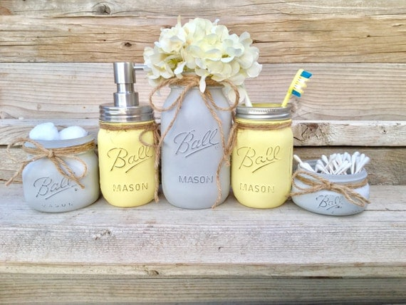 Yellow and grey bathroom decor yellow and gray mason jar bath for Bathroom decor yellow and gray