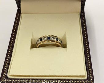 9ct Yellow Gold Sapphire and CZ Full Eternity Ring SIze J