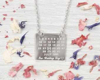 Personalised Sterling Silver Wedding Day Necklace
