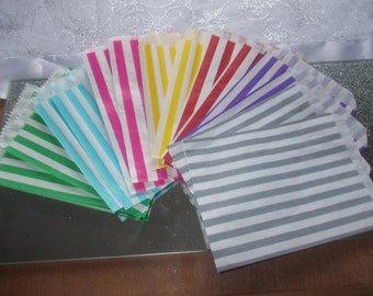25 Stripe favour bags'candy buffet bags,wedding cake bags, sweet buffet candy station bags favor bags party