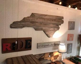 Large North Carolina Cutout Sign with Rustic Look NC Wall Art and NC Wall Decor