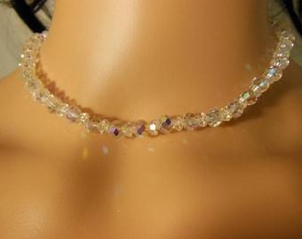 Vintage Aurora Borealis Crystal Necklace by Laguna - Choker - 1950s