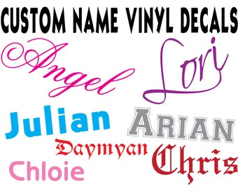 Custom Name Vinyl Decals, SIZED BY WIDTH, Any Single Color, Any Font