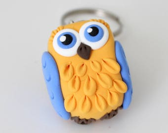 Yellow and blue Owl keychain