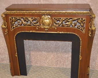 Vintage Ornate Rococo Style Mahogany Mantel Piece w/Gold Gilded Highlights